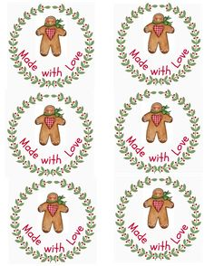 CHRISTMAS MADE WITH LOVE GINGERBREAD TAGS / LABELS CLIP ART PRINTABLE