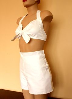 Lolita Inspired 2 Piece White Tennis Playsuit (MADE TO ORDER). $95.00, via Etsy.