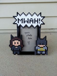 Batman and Cat Woman Perler Bead picture frame.