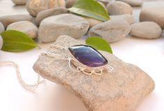 Collier en améthyste, bijou violet et argent, bijou romantique, collier coeurs pierres gemmes : Collier par lapassiondisabelle