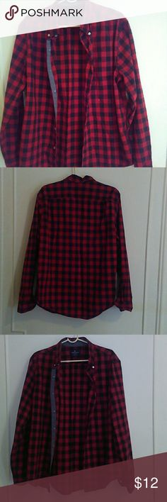 Red&Black Lumber Jack Shirt American Eagle OutFitters, Classic Fit  Lumber jack Shirt, Boys Sz Large American Eagle Outfitters Tops Button Down Shirts
