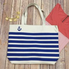 """⚡️FLASH SALE!⚡️ Nautical Beach Tote You will be beach, shopping, and on the go ready with this nautical striped tote bag. Comes in a beautiful red or blue (please comment what color you would like once you have purchased). Size is approx. 16.4"""" x 12"""" x 4"""". Zipper on top, inside pocket, and duel handles. Ask all your questions and let's get one of these perfect totes home to you! (Necklace also available). Shop the Moon Bags Totes"""