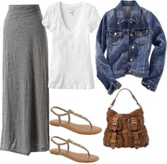 """Grey Maxi with Denim Jacket"" by lori972 on Polyvore"