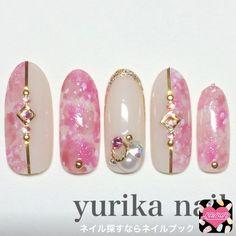 ネイル 画像 yurika nail  1504817 ピンク ベージュ マーブル ビジュー オールシーズン デート パーティー ソフトジェル ハンド ロング