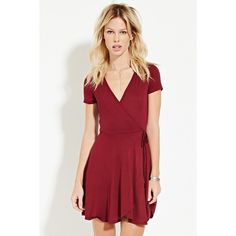 Forever 21 Women's  Surplice Wrap Dress ($13) ❤ liked on Polyvore featuring dresses, red full length dress, red dress, forever 21, red short sleeve dress and wrap dress