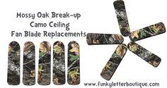 Mossy Oak Break-up Camo Ceiling Fan Blades www.funkyletterboutique.com | kids décor | kids hunting room