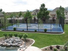 Sport Court is the industry leader in sport court floors, basketball court flooring, and has been building professional or home basketball courts since 1974 Futsal Court, Backyard Sports, Outdoor Basketball Court, Backyard Tennis Court, Dream Mansion, Dream Homes, D House, Backyard Landscaping, Backyard Layout