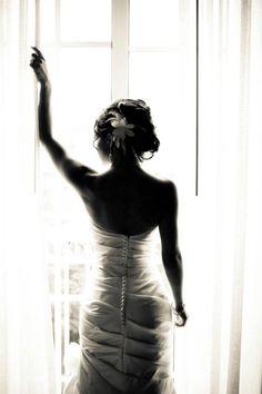 Bridal portrait - silhouette - window - beach wedding