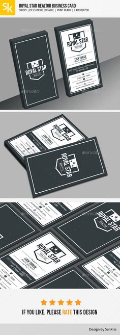 Royal Star Realtor Business Card You can easily change the logo, contact information and color of the elements. Creative Corporate