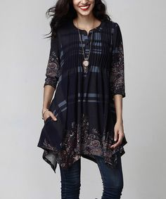 Look what I found on #zulily! Navy Plaid Paisley Notch Neck Pin-Tuck Handkerchief Tunic #zulilyfinds