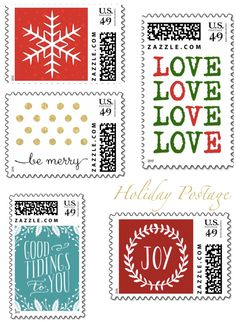 Holiday Card Envelopes  Ensure Your Cards Make a Statement Even Before They are Opened! >> Holiday Postage Stamps