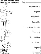 clothes in french how to teach french i french worksheets learn french french education. Black Bedroom Furniture Sets. Home Design Ideas