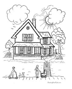 Bible Creation Story Coloring Pages - Creation Day 7 - God Rested - Sunday School / VBS Coloring Pages House Colouring Pages, Bible Coloring Pages, Printable Coloring Pages, Coloring Pages For Kids, Coloring Sheets, Coloring Books, Free Coloring, Creation Crafts, Bible Activities