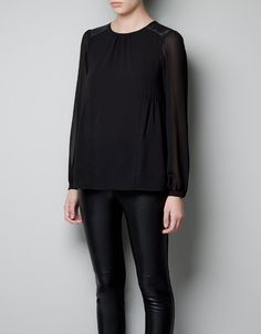 BLOUSE WITH FAUX LEATHER SHOULDER PATCH - Shirts - Woman - ZARA United States