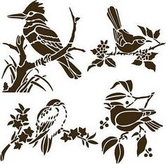 birds Kirigami, Bird Stencil, Stencil Art, Stenciling, Stencil Patterns, Stencil Designs, Bird Silhouette, Silhouette Design, Inkscape Tutorials