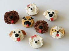 These adorable dog cupcakes are created with just a few simple ingredients. All you need is a dozen of your favorite cupcakes, a batch of white buttercream, some easy-to-find candies and a few decorating tools. Puppy Dog Cupcakes, Puppy Cake, Animal Cupcakes, Dog Cakes, Cupcake Cakes, Puppy Birthday, Birthday Cakes, Puppy Party, Cute Food