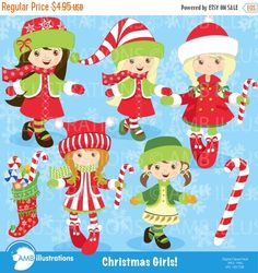 80%OFF Christmas clipart christmas girls by AMBillustrations