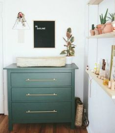 Those final days waiting for baby. Paige Jones, photographer and mama behind this sweet bohemian nursery is in the midst of all that magic right now, which makes it such perfect timing to share - Baby Nursery Today Nursery Dresser, Nursery Room, Girl Nursery, Kids Bedroom, Nursery Decor, Ikea Dresser, Bedroom Ideas, Nursery Grey, Gold Dresser