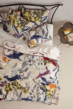 ANTHROPOLOGIE Creature Hideaway QUEEN QUILT +4 Shams Comforter Flora Fauna NIP in Home & Garden, Bedding, Comforters & Sets | eBay