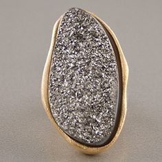 Marcia Moran Titanium Druzy Ring - 18k gold-plated. In sizes 6 to 8.