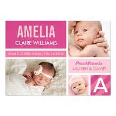 Photo #Birth #Announcements   Color Block Collage #baby #newbaby