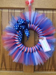 This lightweight patriotic wreath is a soft yet bold addition to your door