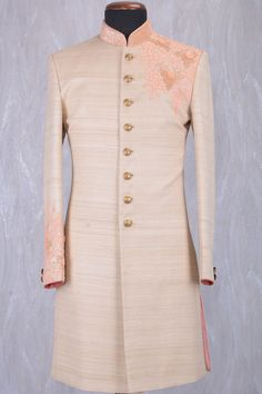 Beige Jute Silk Sequins Embroidered IndoWestern Sherwani-IW925