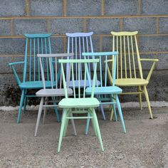 Set of 6 Assorted Ercol Chairs in Pastel Shades