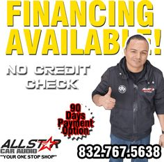 Get Financed. It's Easy to Qualify! ACTIVE CHECKING ACCOUNT 6 MONTHS OF EMPLOYMENT http://allstarcaraudio.com/financing/