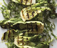 Grilled Baby Bok Choy with Miso Butter recipe on snacking Bok Choy Rezepte, Grilling Recipes, Cooking Recipes, Barbecue Recipes, Barbecue Sauce, Vegan Butter, Recetas Light, Gastronomia, Recipes
