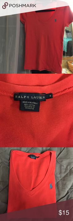 Ralph Lauren Shirt Pink w/blue pony v-neck. In great condition, I just don't need it anymore. Ralph Lauren Tops Tees - Short Sleeve
