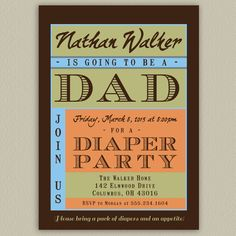 Diaper Party Shower for Dad Printable Invitation by doubleudesign