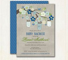 Navy and Grey Mason Jar Baby Shower by TracyAnnPrintables on Etsy $15 printable