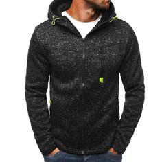 3b33a0f55be NEW Spring Men Fleece Hoodies Jacket Mens Contrast Color Slim Zipper Pocket  Sweatshirt Casual Autumn Plus Size Hooded Coat
