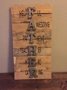 Father Sign Father's Day Sign Wall Sign Pallet Sign Holiday Sign Reclaimed Wood Sign thoughtful fathers day gifts grandparents valentines day gifts fathers day crafts for kids school Easy Diy Christmas Gifts, Diy Father's Day Gifts, Father's Day Diy, Gifts For Dad, Funny Christmas, Family Christmas, Christmas Presents For Dad, Teen Gifts, Christmas Decorations