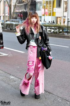 Pink Ripped Jeans Over Tights w/ Candy Stripper, 6%DOKIDOKI & Sakura Pop Candy