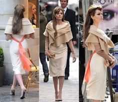 "In case you have seen pictures from the set of ""The Tourist"" [starring Angelina Jolie and Johnny Depp] or the movie trailer, and Angelina's cream outfit caught your attention, wel… The Tourist Angelina Jolie, Angelina Jolie Dress, Colleen Atwood, Cream Outfits, Dresses Elegant, Mannequin, Costume Design, Ideias Fashion, Vintage Fashion"