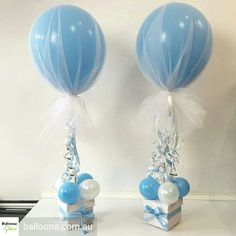 super ideas for baby boy shower decorations balloons center pieces Baby Shower Cakes, Idee Baby Shower, Shower Bebe, Baby Shower Balloons, Baby Shower Favors, Shower Party, Baby Shower Parties, Baby Shower Themes, Baby Shower Gifts