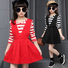 Girls Clothes Striped T-shirt Strape Dress 2pcs Kids Clothing Sets Ensemble Fillle 3-15Years School Uniform Supplier Clothes