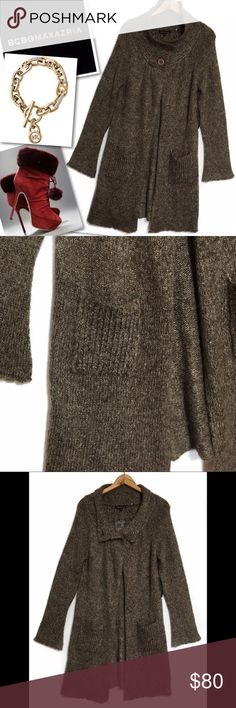 """BCBG MAX AZRIA RUCHED OPEN SWEATER CARDIGAN NWT BCBG MAX AZRIA  RUCHED OPEN SWEATER CARDIGAN  SZ S  36-38"""" BUST 36"""" LENGTH 60% ACRYLIC 25% NYLON 10% POLYESTER 5% SPANDEX  RETAILS $160  NEW WITH TAGS BCBGMaxAzria Sweaters Cardigans"""