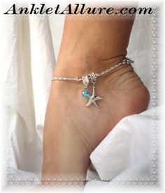 Boho Beach Gyspy Starfish Charm Anklet Ocean Blue Silver Ankle Bracelet