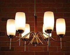 Mid Century Modern Danish teak and brass 6 light chandelier hanging fixture lamp