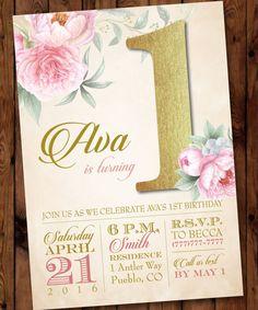 Pink Floral Birthday Invitation, Pink Peonies Birthday Invitation, Pretty in Pink Birthday Invitation