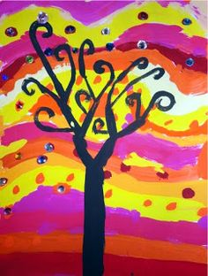 WIND MrsPicasso's art room: Sparkly Trees Add stripes and swirls in a horizontal fashion. Like the wind blowing back and forth. Add some small dots or swirls on top of their stripes. Practice painting trees on white paper before going on to their swirly backgrounds. Paint a trunk going off the bottom of the paper.  Split the top of the tree like a letter Y. Two branches meet in the middle and are as thick as the trunk on each side. Split tops of branches making a V at the top. etc