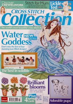 Cross Stitch Collection 181 2010 Water Goddess; ducks, puppies, birds, flowers, Mom's Day Cards