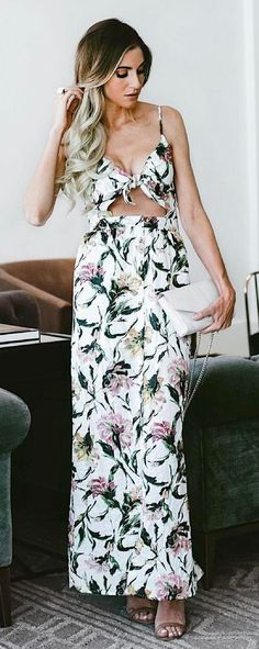 #summer #outfits White Floral Maxi Dress + Grey Sandals