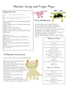 fun monster songs and finger plays (pre-k) cute for Halloween! Monster Activities, Music Activities, Preschool Activities, Therapy Activities, Monster Crafts, Monster Classroom, Music Classroom, Monster School, Classroom Ideas