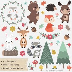 This item is unavailable Woodland Animal Nursery, Woodland Animals, Woodland Party, Doodle Drawings, Cute Drawings, Doodles Bonitos, Friends Clipart, Cute Clipart, Woodland Creatures