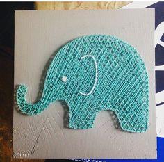 Custom Nursery Elephant String Art by PurplePalletDesigns on Etsy