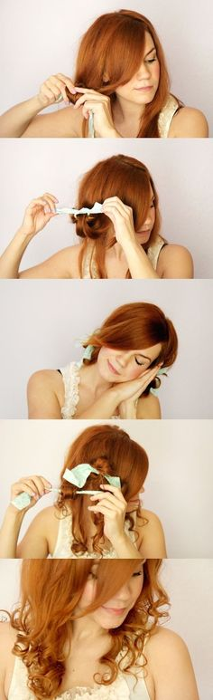 """How to Curl Your hair using rags. I'm going to try this, but I also thought that you may want to, too, Kaylee. :D I've heard from people I know that it really does work! The number of rags you use can create different results, apparently, too, from bigger curls/waves to lots of """"Shirley Temple"""" curls. :D"""